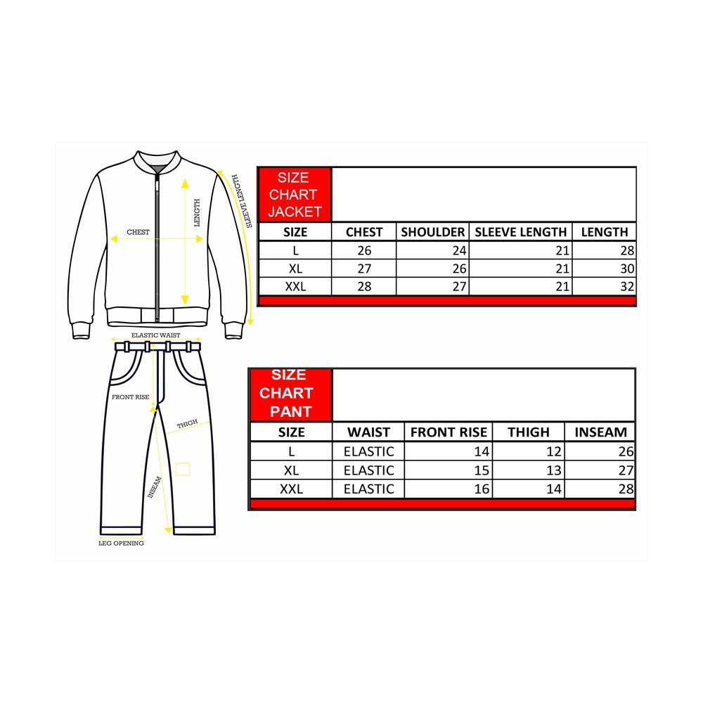 Rainwear Avenger Size Chart